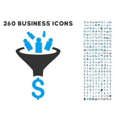 Sales Funnel Icon with Flat Set vector image