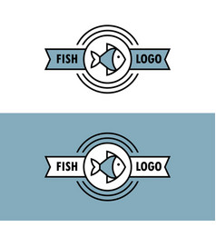 seafood logo with fish icon vector image