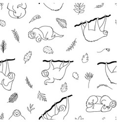 seamless pattern with cute sloth vector image