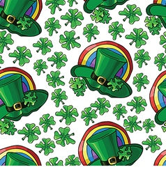 Seamless pattern with green hats and shamrocks for vector