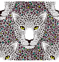 Seamless pattern with leopard vector