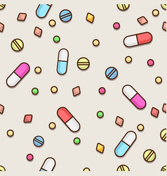 seamless pills pattern medical concept vector image
