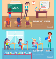 set elementary school vector image
