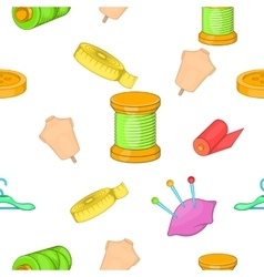 Sewing supplies pattern cartoon style vector image