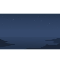 Silhouette of sea at the night vector