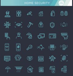 simple set of home security related line vector image