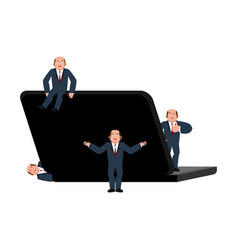 Small businessmans and laptop business consultant vector