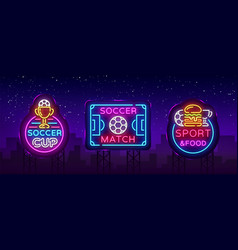 Soccer collection neon signs football set vector