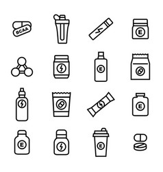 sport supplements black thin line icon set vector image