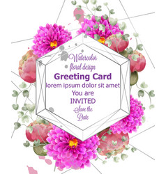 spring flowers wedding card watercolor vector image