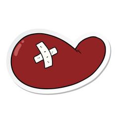 sticker a cartoon injured gall bladder vector image