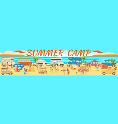 summer camp on beach vector image