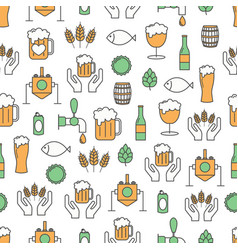 thin line art craft beer seamless pattern vector image