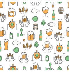 Thin line art craft beer seamless pattern vector