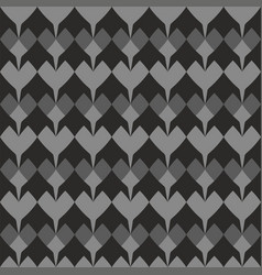 Tile pattern with grey hearts on black background vector