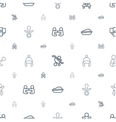 Toddler icons pattern seamless white background vector