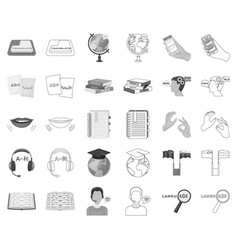 Translator and linguist monochromeoutline icons vector