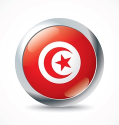 Tunisia flag button vector image