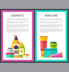 two cosmetic skin care posters cute glitter vials vector image