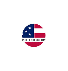 usa round simple flag on white background vector image