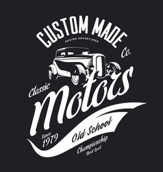 Vintage custom hot rod motors tee-shirt log vector