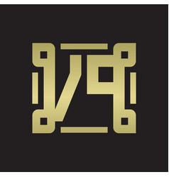 Vp logo monogram with piece line art design vector