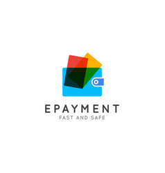 wallet with credit cards logo online payments vector image