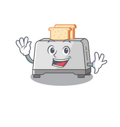 Waving friendly bread toaster mascot design style vector
