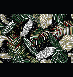 Wild tropical leaves seamless pattern vector