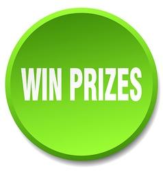 Win prizes green round flat isolated push button vector