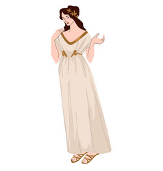 woman wearing greek traditional clothes dress vector image