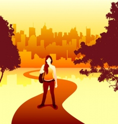 Women and city vector