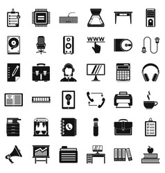 Work computer icons set simple style vector