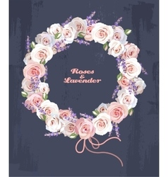 Wreath of roses and lavender vector