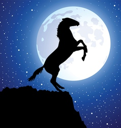 a horse on top of the mountain vector image vector image