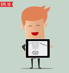 Business man showing scan X-ray report - - E vector image