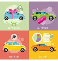 Buying car rent and loan vector