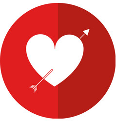heart with arrow love valentine shadow vector image vector image