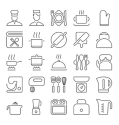 kitchen utensils and cooking line icons vector image