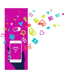 Mobile phone device business concept Flat design vector image
