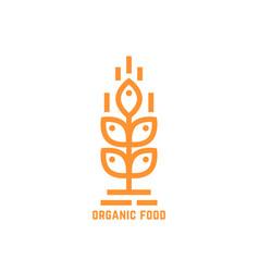 orange simple organic food logo vector image vector image