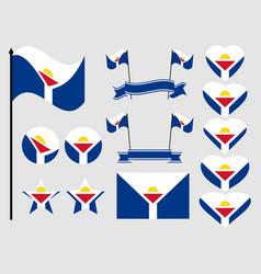 sint maarten flag set collection of symbols flag vector image vector image