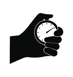 Stopwatch in hand black simple icon vector image vector image
