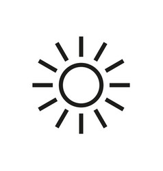 sun icon on white background vector image vector image