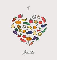 Vegetables arranged in heart shape vector