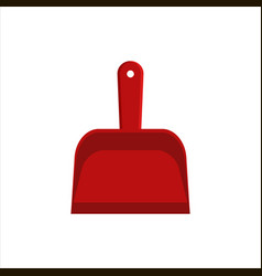 Flat red dustpan icon logo isolated on white vector