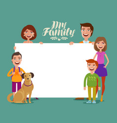 happy family banner children and parents concept vector image