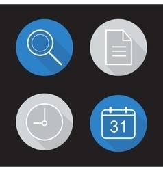Organiser app flat linear icons set vector image vector image