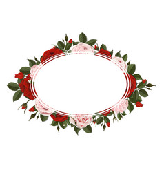 oval greeting card on red and pink rose flowers vector image