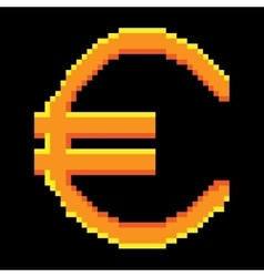 Sign pixel euro gold 1106 vector image vector image